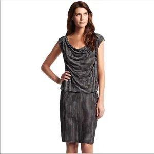 Derek Lam Striped Drop Waist Cap Sleeve Dress
